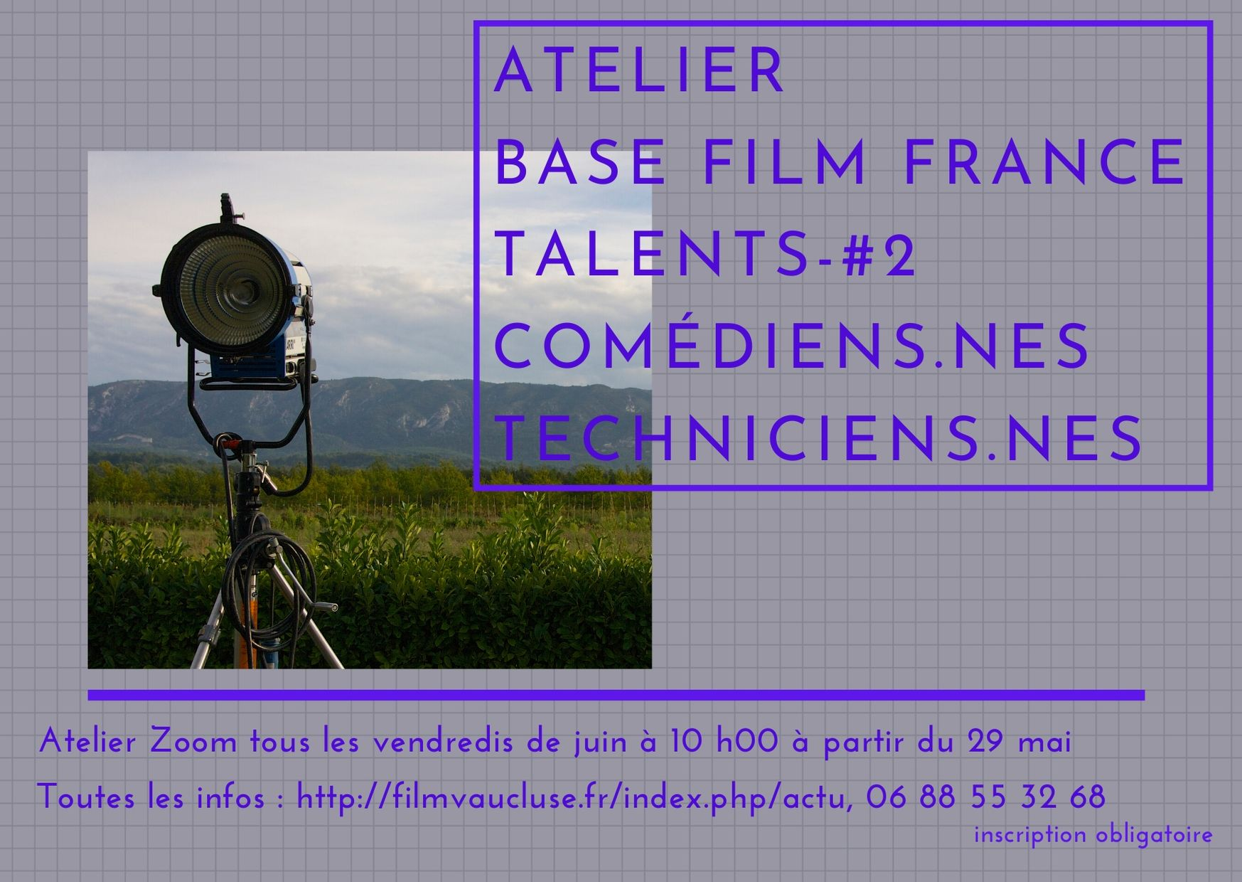 Atelier zoom base Film France Talents -#2 techniciens-nes Comédiens-nes